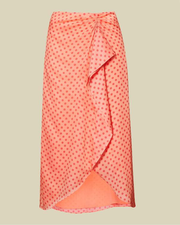 테드 베이커 Ted Baker Contrast spot wrap skirt,coral