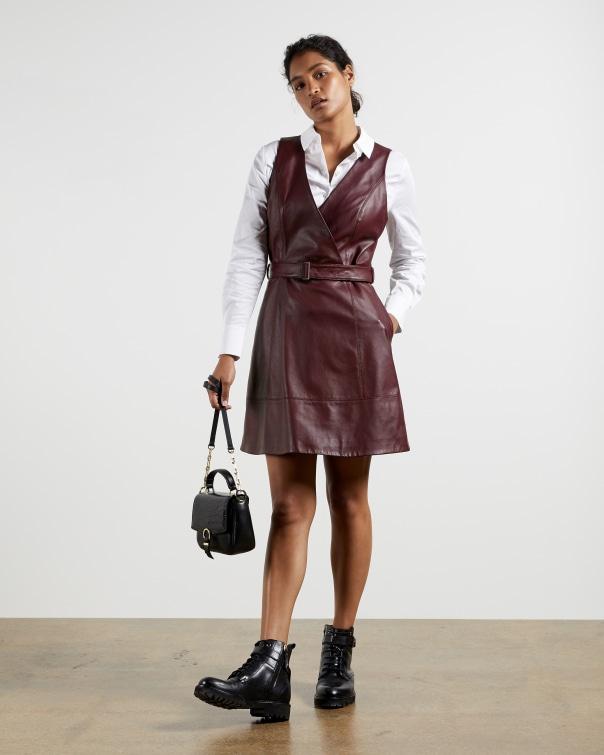 테드 베이커 원피스 Ted Baker Leather belted wrap dress,wine