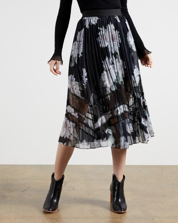 테드 베이커 Ted Baker Clove pleated midi skirt,black