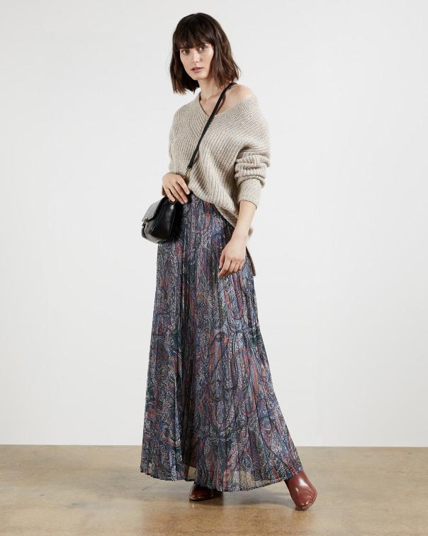 테드 베이커 Ted Baker Lantern print pleated maxi skirt,teal