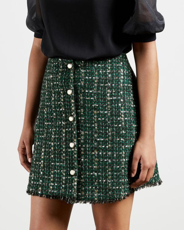 테드 베이커 Ted Baker Boucle mini skirt,dark green