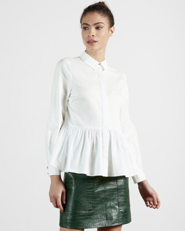 테드 베이커 오버사이즈 셔츠 Ted Baker Gathered Over-sized Shirt,white