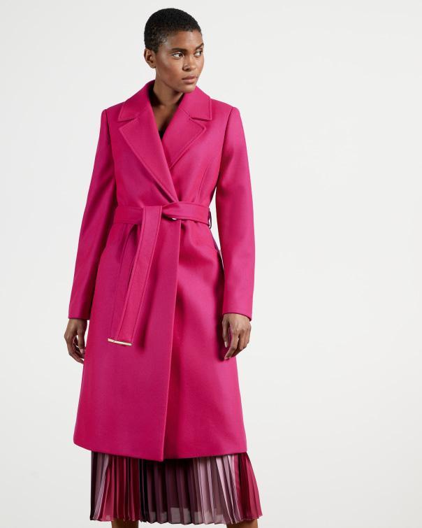 테드 베이커 Ted Baker Long collared wool coat,pink