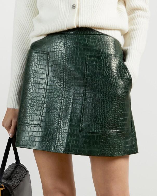 테드 베이커 Ted Baker Pleather Mini Skirt,dark green