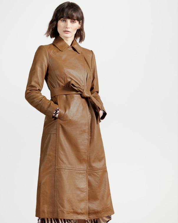 테드 베이커 Ted Baker Leather wrap coat,brown