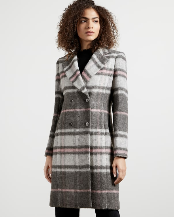 테드 베이커 Ted Baker Chevron Wool Midi Coat,grey
