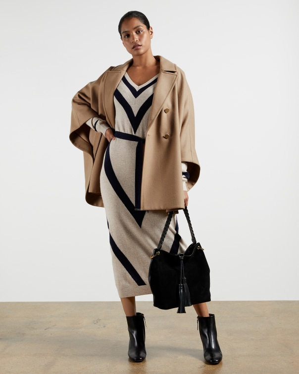 테드 베이커 Ted Baker Double-breasted cape coat,camel