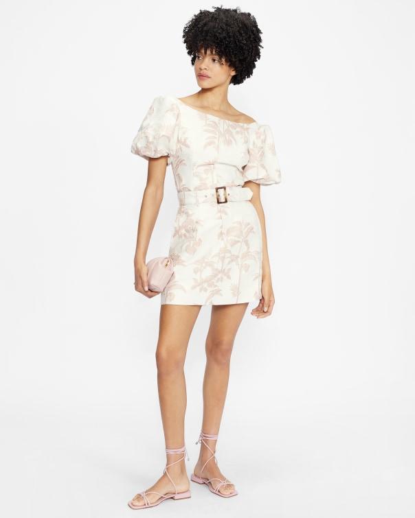 테드 베이커 Ted Baker Mini skirt with self belt,white