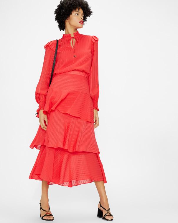 테드 베이커 Ted Baker Tiered skirt,coral