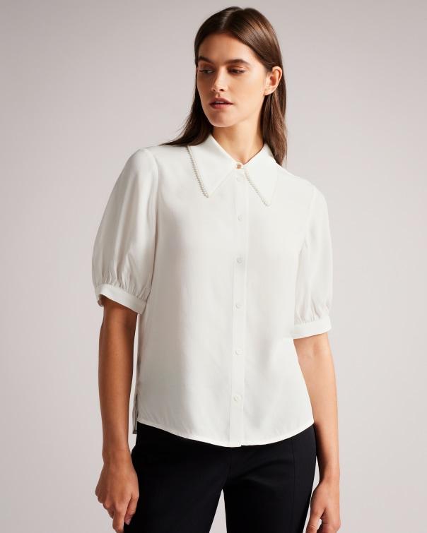 테드 베이커 Ted Baker Shirt With Trim Detail Collar,white