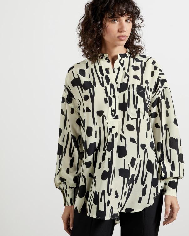 테드 베이커 Ted Baker Silk Splodge Shirt,natural