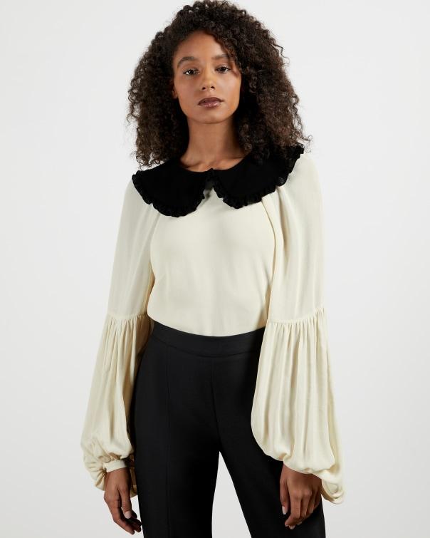 테드 베이커 Ted Baker Contrast Collar Shirt,ivory