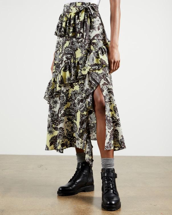 테드 베이커 Ted Baker Paisley Printed Midi Skirt,pale yellow