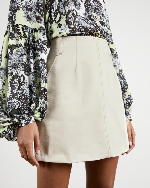 테드 베이커 Ted Baker Ecru mini denim skirt,stone