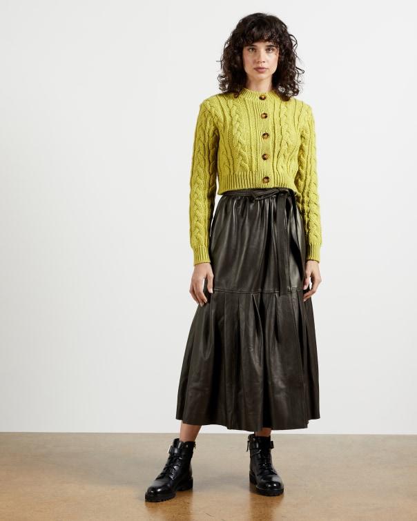 테드 베이커 Ted Baker Leather Pleated Wrap Skirt,dark brown