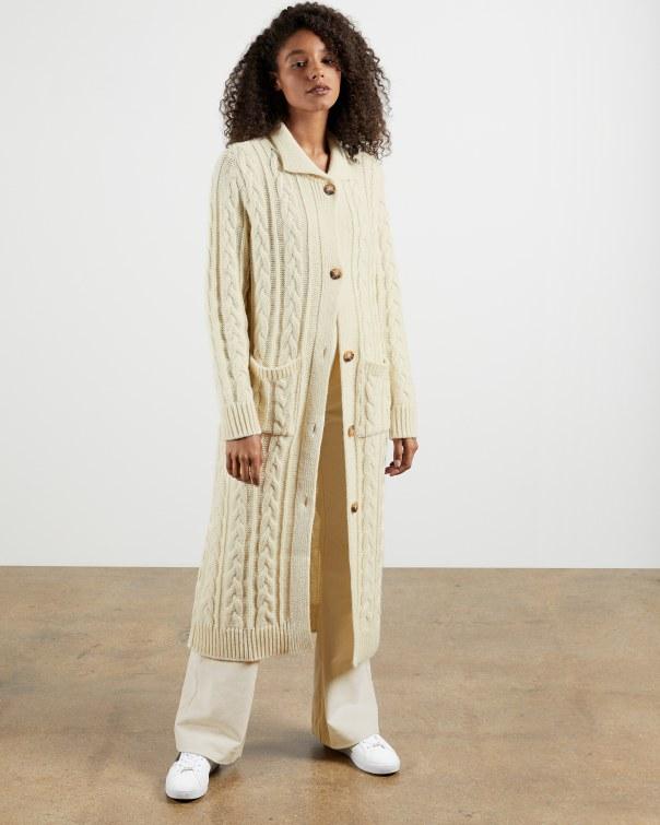 테드 베이커 가디건 Ted Baker British Wool Cable Cardigan,ivory