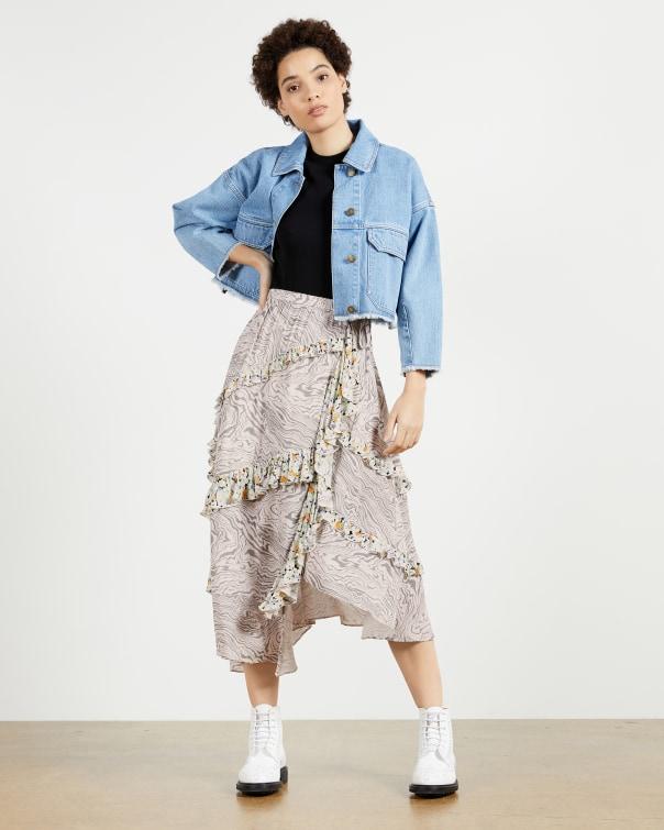 테드 베이커 Ted Baker Tiered skirt with side split,ivory