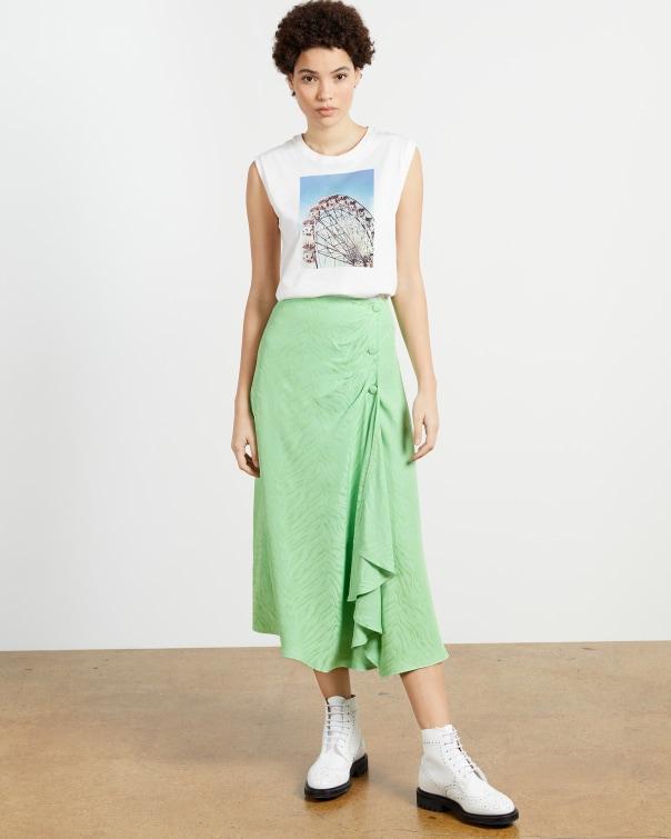 테드 베이커 Ted Baker Button front skirt with split,light green